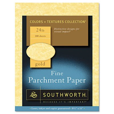 - Southworth Parchment Specialty Paper, Gold, 24 lbs, 8-1/2 x 11, 100/Box