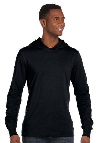 Canvas Unisex Unisex Driftwood Long Sleeve Hooded T-Shirt. 3512 - Black 3512 M (Bella Pullover Hooded)