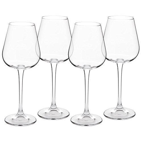 Crystal White Wine Glasses - Set of 4 - Lead-Free Glass Imported From The Czech Republic - 260ml (8.8oz.)