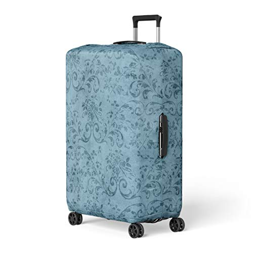 Pinbeam Luggage Cover Pretty Vintage Blue Floral Pattern Jacobean Vine Aged Travel Suitcase Cover Protector Baggage Case Fits 22-24 ()