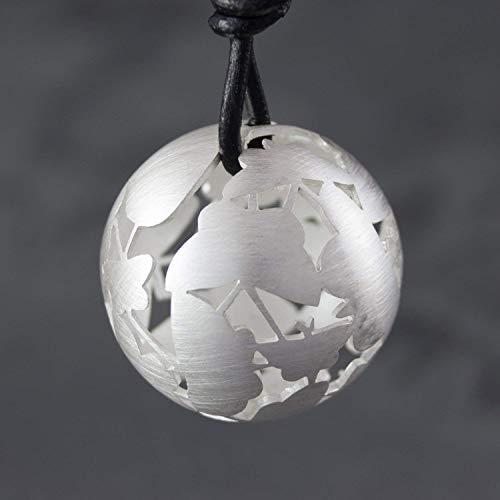 925 Silber Halskette mit Kugel-Anhänger aus Ornamenten
