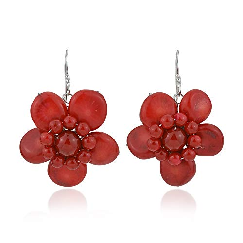Beautiful Handmade Reconstructed Red Coral Floral .925 Sterling Silver Dangle Earrings