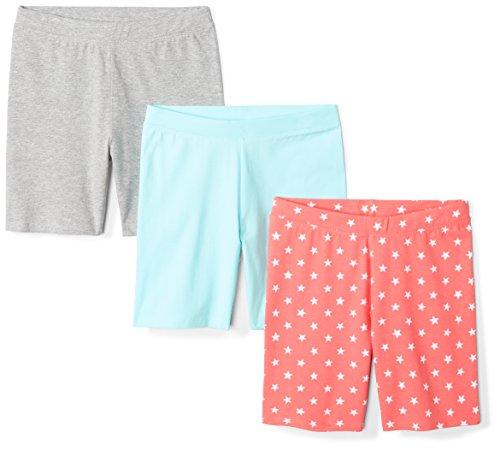 Amazon Brand - Spotted Zebra Girls' Big Kid 3-Pack Bike Shorts, Coral Star, Large (10)