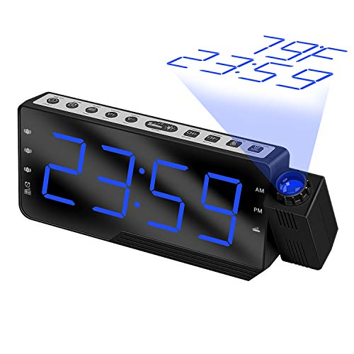 IMPFUNICAL Digital Alarm Clock Projection Clock, Alarm Clock Radio Large Display, Digital Alarm Clock Radio for Bedroom Multiple Alarms for Heavy Sleepers