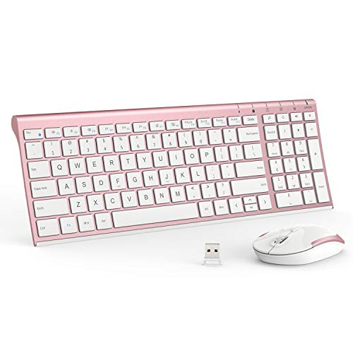 Computer Standard Mouse (iClever Wireless Keyboard and Mouse Combo - 2.4G Portable Wireless Keyboard Mouse with Rechargeable Battery, Ergonomic Design, Full Size, Slim & Thin, Stable Connection, Adjustable DPI, Rose Gold)