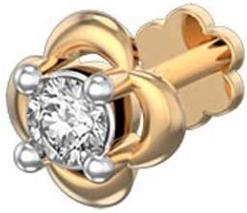 Ringjewels 14K Yellow Gold Plated Sim White Diamond Gentiana Floral Nose Pin for Womens /& Girls Silver