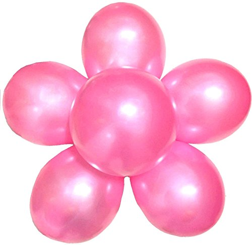 Elecrainbow 100 Pack 12 Inch 3.2 g/pc Thicken Round Metallic Pearlescent Latex Balloons - Shining Deep Pink Balloons for Party Supplies and Decorations