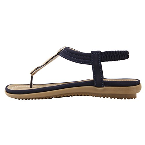Lieve Tijd Strass Flip Flops Enkelbandje Gladiator String Platte Sandalen Blauw