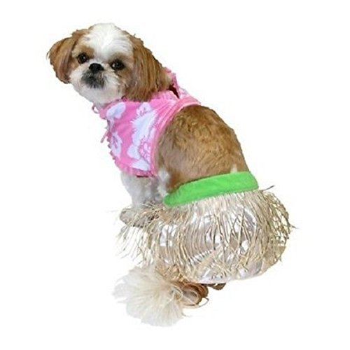 Dog Hula Costume (Hula Girl Dog Costume Grass Shirt & Bikini Top Pet Outfit Small)