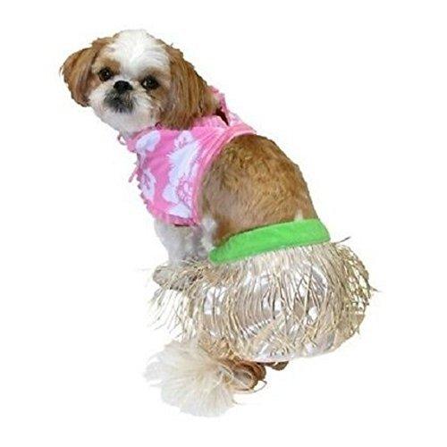 Hula Girl Dog Costume Grass Shirt & Bikini Top Pet Outfit (Dog Hula Costume)