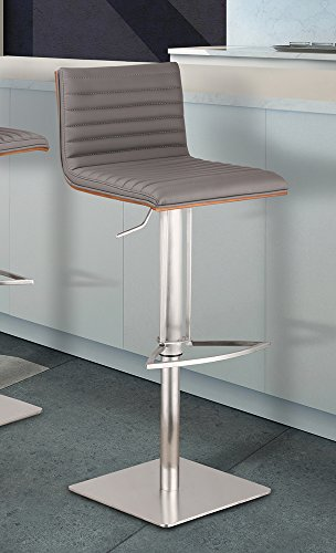Armen Living LCCASWBAGRB201 Café Adjustable Barstool in Grey Faux Leather and Brushed Stainless Steel Finish