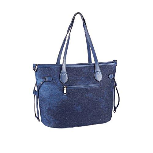 OBC Only-Beautiful-Couture - Bolso al hombro para mujer azul Blau-Braun 17x15x10 cm ca.: 17x15x10 cm (BxHxT) Dunkelblau 42x28x16 cm