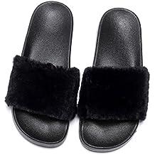 Havina Women's Faux Fur Slippers Soft Slide Flat Flip Flops