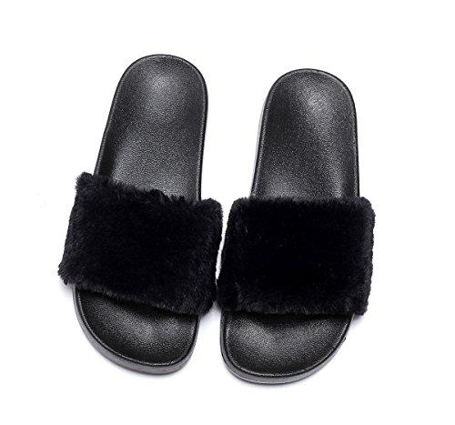 Havina Women's Faux Fur Soft Slide Flat Slipper Flip Flop Black 8.5-9 B(M) US