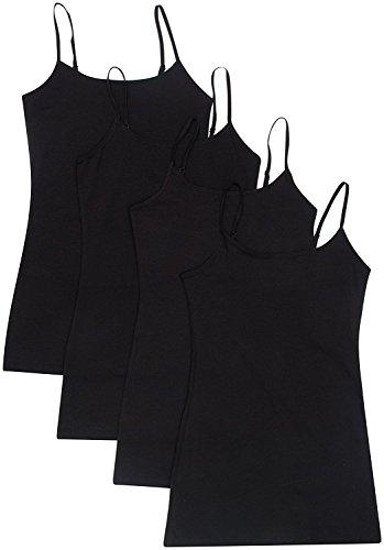 4 Pack: Active Basic Cami Tanks in Many Colors (XX-Large, Black/Black/Black/Black)