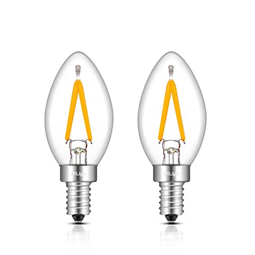 CRLight C7 1W LED Night Light Bulbs 15W Equivalent 150LM Warm White 2700K, E12 Candelabra Base Clear Glass C7 Mini Candle Torpedo Shape, 360 Degrees Beam Angle, Non-dimmable, 2 Pack ()