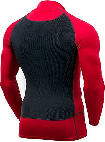 TSLA Mens Mock Long-Sleeved T-Shirt Cool Dry Compression Baselayer, Back Mesh(mut72) - Red & Charcoal, Large