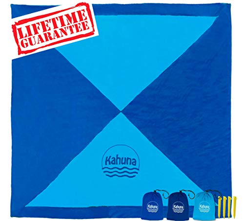 Kahuna Large Beach Blanket - Compact Sand Free Beach Blanket, Beach Sheet, Picnic Blanket. Made from Strong Parachute Nylon. Includes Sand Anchor Pockets, Ground Stakes & Zippered Pocket - Dark Blue