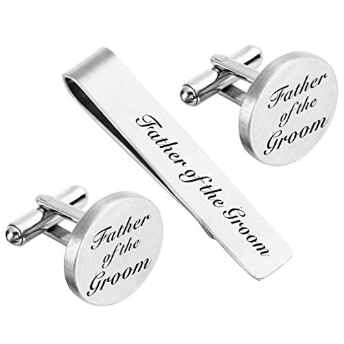 (ZUNON Father of The Groom Cufflinks Mens Gifts Father Dad Stepfather Wedding Enegraved Tie Clips Back Bar (Cufflinks & tie Clip 1))
