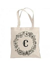 Cute Initial C Floral Gift: Liberty Bags Canvas Bargain Tote Bag