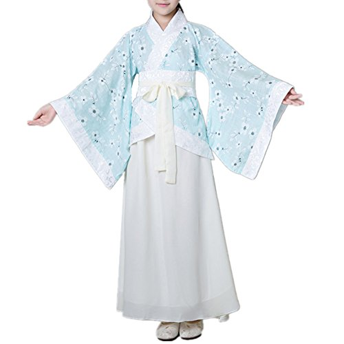 SEVEN O Girls Child Ancient Chinese Traditional Cosplay Costumes Hanfu Fancy Dress (Blue, 150CM) -