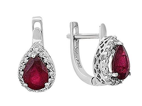 Boucles d'Oreilles Rubis et Diamants-Femme- or Blanc 207E0021