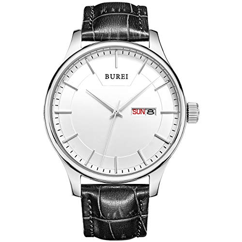 (BUREI Unisex Simple Quartz Wrist Watch Silver Analog Dial with Day Date Stainless Steel Case Black Genuine Leather Strap)