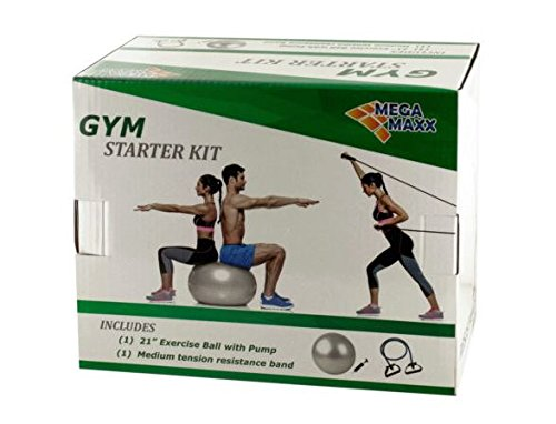 K&A Company Gym Starter Kit with Exercise Ball, Pump & Resistance Band Case of 9 by K&A Company