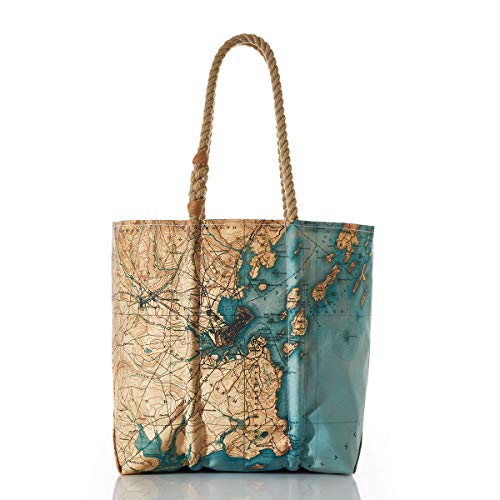 Sea Bags Recycled Sail Cloth Antique Casco Bay Map Tote made in Maine