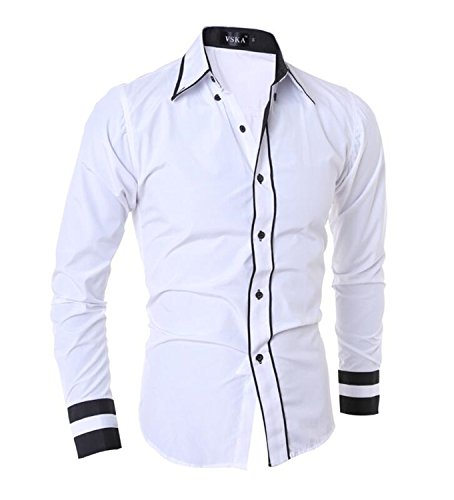 Jacgfe Shirt Men Shirt Men'S Cuff Striped Long-Sleeved Shirt Male Casual Slim Chemise XXL white shirt Asia XXL 70 to 85kg (New Lace Leather And Hampshire)