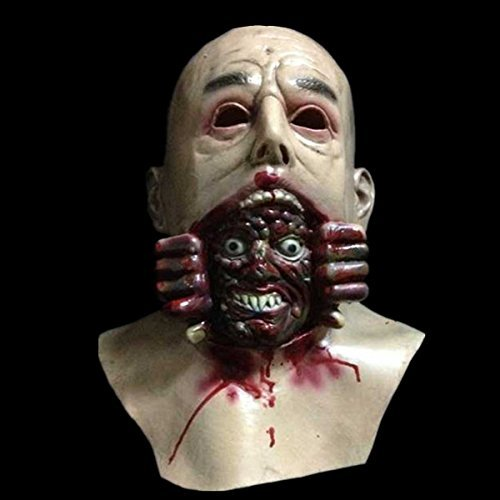 HOMEE Halloween Ghost Houses an Atmosphere of Terror and Decorated Caps Props Emulation Biochemical Coliform Zombie Masks, Fleshy Kwan,Bald rotten Tip