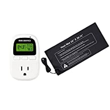 """Inkbird C206 Digital Only Heat Temperature Controller 10-42°C / 50-108°F Outlet Thermostat 110V, 1100W + 10"""" x 20.75"""" 110V 21W Waterproof Heat Mat"""