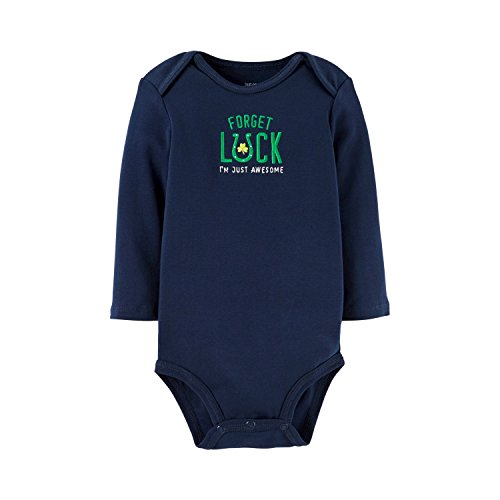 [Just One You by Carters Baby Boys or Girls St Patricks Day Long Sleeve Bodysuit (12 Months, Navy - Forget] (St Patricks Day Shirts For Toddlers)