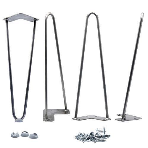 16'' Hairpin Legs 3/8'' [Raw Steel] Leg Protectors(4) + Screws(20) [Set of 4] - Metal Legs - Coffee Table Legs - Desk Legs - Furniture Legs - Mid Century Modern by Homeland Hardware by Homeland Hardware (Image #8)