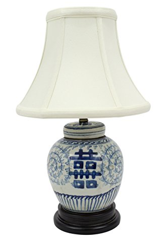 Porcelain Jar Lamp Ginger (Cute Blue and White Porcelain Double Happiness Ginger Jar Table Lamp)