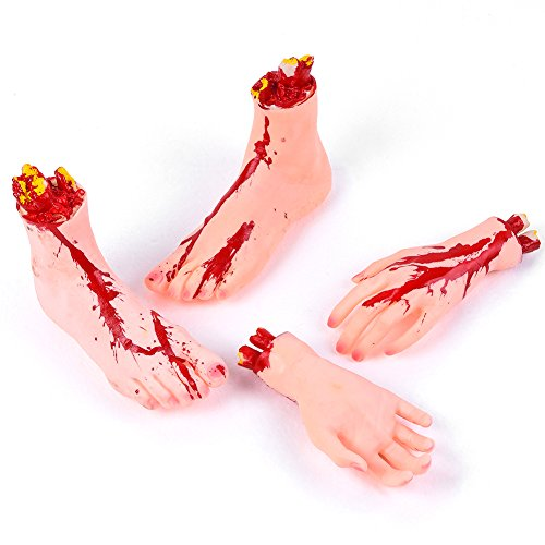 Vbiger Halloween Severed Hands Feet Set Cut Off Legs and Hands Set Scary Bloody Broken Body Parts Halloween Prank Props Decorations, 4 Pieces -