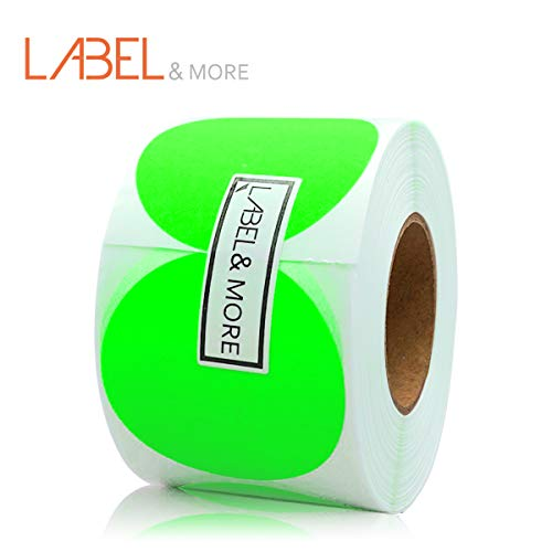 Green Inventory Circle Labels - LABEL&MORE 2 Inch Color Coding Stickers Neon Green Dots 2