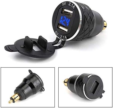 Bruce & Shark オートバイデュアル USB充電器 4.2A DINソケット電圧計(USB Charger) BMWバイク EUプラグ 用