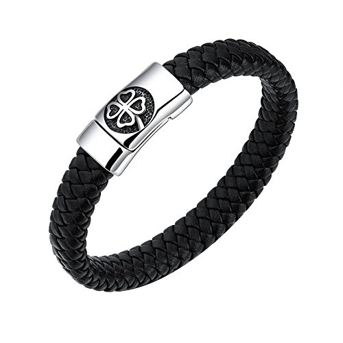 12mm Men's Woven Leather Bracelet with Four Leaves Clover Magnetic Clasp 7.87