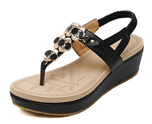 pu 02 Plattform Schuhe böhmischen Sandalen Stil Sandal Thong Perle Keil Strass black Frauen soft vEOqO