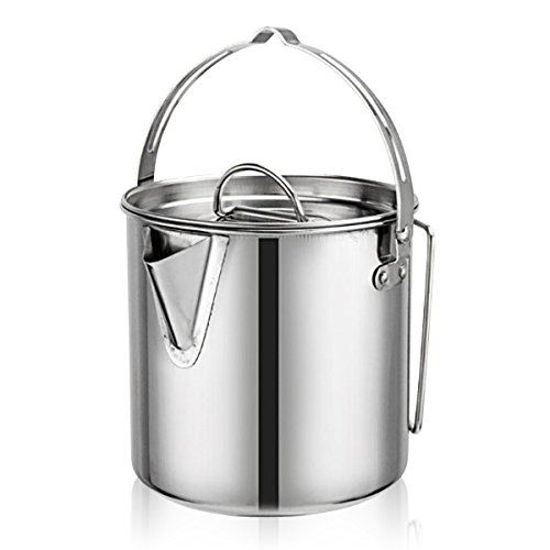 Evaliana 1.2L Stainless Steel Teakettles Outdoor Picnic Camping Kettle Skillet Hiking Foldable ()