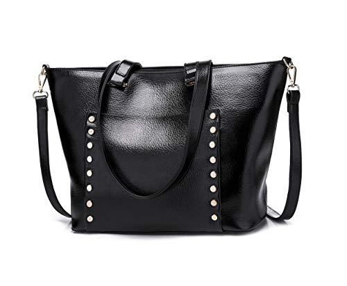Fekete de hombro Carteras y para DEERWORD Bolsos bandolera bolsos con Bolsos mujer asa Shoppers de mano wZx0Yq