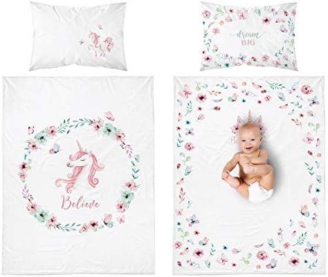 Juego de cama de bebé reversible con unicornio, 50% algodón, 50% bambú, funda nórdica de 100 x 135 cm y funda de almohada de 40 x 60 cm, color rosa: Amazon.es: Bebé
