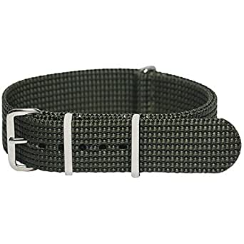 Momentum 20 mm Stainless Steel Buckle Nato Strap, Army Green