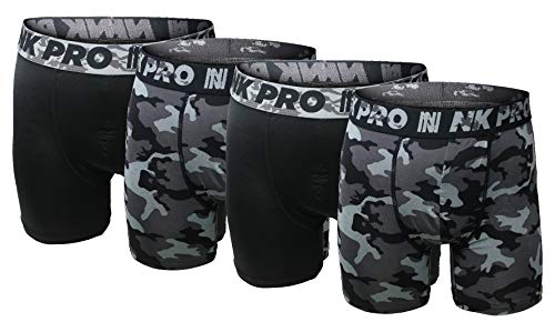 NK Pro Men's Performance Boxer Briefs Sports Underwear 3 Pack (Large, 4 Pack Camouflage Solid Black)