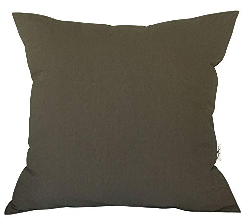 "TangDepot Decorative Handmade Solid Cotton Throw Pillow Covers, Super Soft Pillow Shams, European Indoor/Outdoor Cushion Covers - (28""x28"", Taupe)"