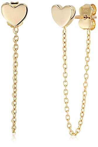 14k Yellow Gold Heart Chain Drop Dangle Earrings (14k Yellow Gold Chain Earrings)