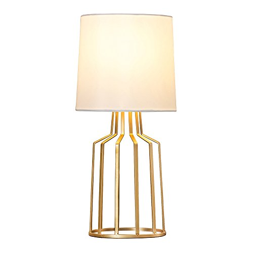 GLANZHAUS Mini Elegant Design Living Room Bedroom Bedside Table Lamp, Desk Lamps with White Fabric Shade and Golden Metal Bird Cage Base