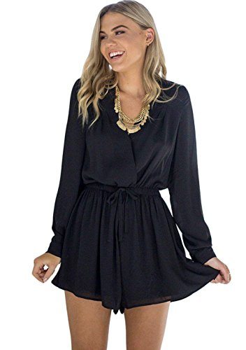 Zhaoyun Womens Long sleeve V Neck Overlay Tie Waist Short Romper Jumpsuits Black-M