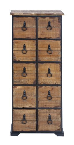"Deco 79 53198 Rustic Natural & Black Wood Cabinet with Iron O-Ring Handles & 10 Drawers, 19"" x ()"